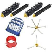 TOP-MALL 3 filtri Aero Vac & 3 bracci, 6 bracci & 2 spazzole laterali Bristle Brushes & 2 spazzole per pulizia & battente flessibile-Set attrezzi Mega Kit di rifornimento di iRobot Roomba 600, serie robot aspirapolvere