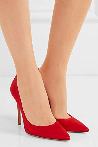 EDEFS Scarpe con Tacco Donna - High Heels - Tacco a Spillo - Satin Scarpe Donna Rosso