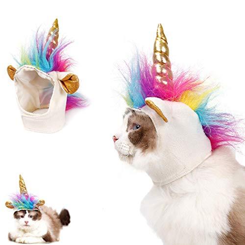 Adusa Haustierkostüm, Einhornmütze, für Kleine Hunde und Katzen, Kostüm-Zubehör, für Cosplay, Mähne, Halloween, Weihnachten, Party (Zubehör Für Eine Katze Kostüm)
