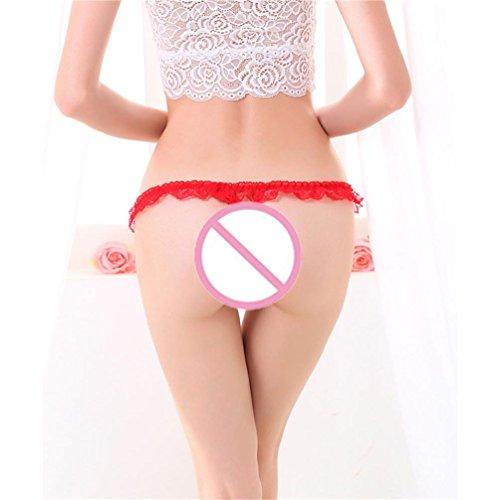 lingerie Longra Femmes Dentelle Culotte Sans Couture Respirant Panty Creux Sous-Vêtements Rouge-C