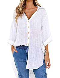 0b951648 TUDUZ Womens Loose Button Long Shirt Ladies Baggy Cotton Linens Half Sleeve  Bow Casual Blouse Tops