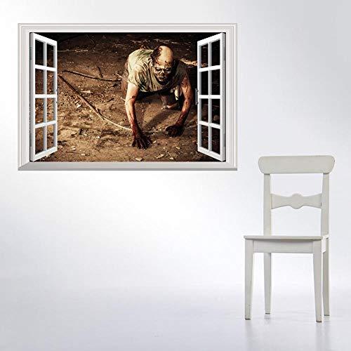 Stereoskopische 3D Fake Fenster Aufkleber kriechen Zombie Halloween Wandtattoo 48,5 * 68 cm ()
