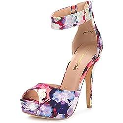 DREAM PAIRS Swan-05 Zapatos de Tacon Alto Plataforma Vestir para Mujer Floral 38 EU