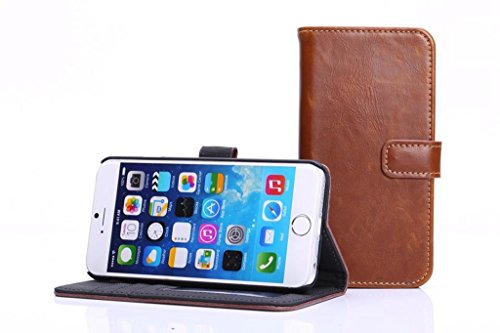 Crazy Horse Texture Faux Leder Brieftasche Tasche, Horizontale Folio Stand Case Cover mit Kickstand & Card Slots & Magnetische Verschluss für iPhone 6 & 6s ( Color : Brown ) Brown
