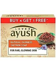 Lever Ayush Natural Fairness Saffron Soap, 100 g each (Buy 4 Get 1)