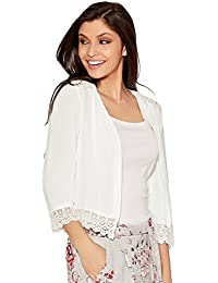 M&Co Ladies Lightweight Open Edge to Edge Three Quarter Length Sleeve Crochet Lace Trim Cover Up Jacket