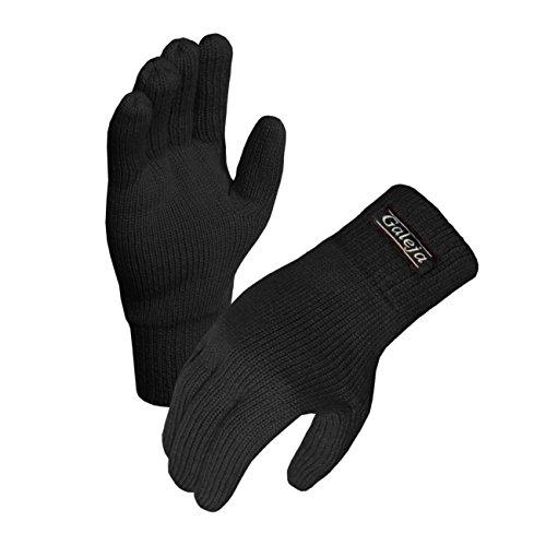 Galeja Herren Handschuhe Thinsulate Fleecefutter Fingerhandschuhe isoliert Gr. 7/8 Farbe Schwarz Strickhandschuhe Funktionshandschuh