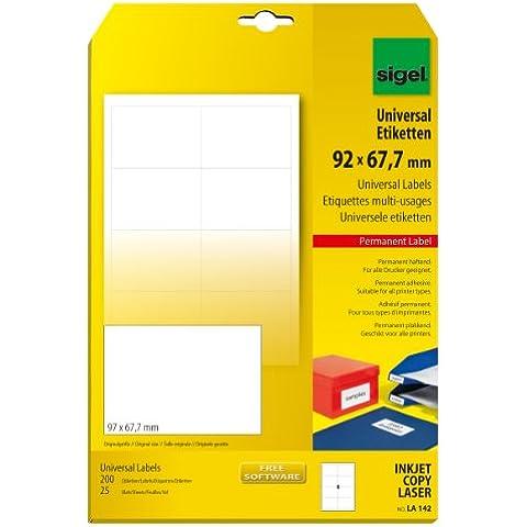 Sigel LA142 - Etiquetas universales, 200 unidades en 25 hojas, 97 x 67.70 mm (A4)
