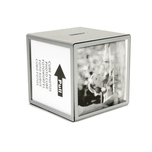 Hab & Gut -FRBOX001- Hucha con Fotos, Plata, Cubo 9,5 x 9,5 x 9,5 cm, Marco para 5 Fotos