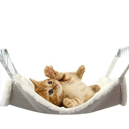 GONGYU Katzenhängematte hängender Nestkäfig mit Katzenschaukel Haustier Hängematte Wildleder doppelseitig erhältlich,Gray,L