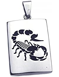 Email Noir Acier Inoxydable Scorpion Plaque Chien Pendentif Charme