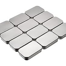 12 Piezas de Lata de Necesidades Básicas Latas Vacías Rectangular Plateado Caja de Almacenaje Mini Contenedor