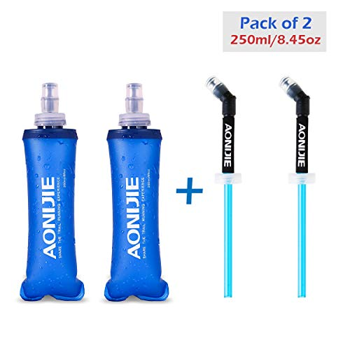Azarxis TPU Faltbarer Soft Flask, BPA-Frei trinkblase Trinkflaschen Wasserflasche für Trinkrucksack Fahrrad Klettern Sport (250ml - 2 Stück mit 2   Strohhalmen) -