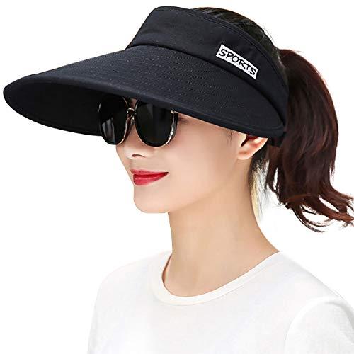 Maylisacc Sonnenblenden für Damen, Golf-Hut, UV-Schutz, Damen, A-All Black, Einheitsgröße Golf Visor Haar