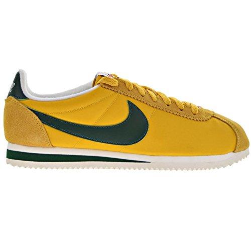 Nike Mens Classic Cortez Nylon Trainers Yellow Ochre/Gorge Green