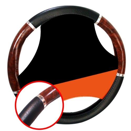 LB171 - Couverture de volant de voiture Protecteur gant de volant Noir avec design en aspect bois