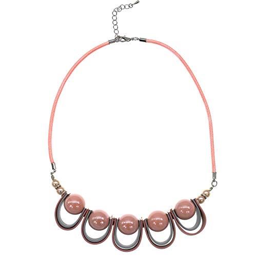 Stammes Kostüm Sammlung - Mode Schmuck Mädchen Boho Lange Runden Charms Blase Simuliert Perle Korn Erklärung Halskette für Frauen (Rosa)