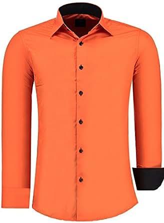 Jeel Herren-Hemd Langarm / Business Freizeit Hochzeit / Bügelleicht / Slim-Fit Orange S