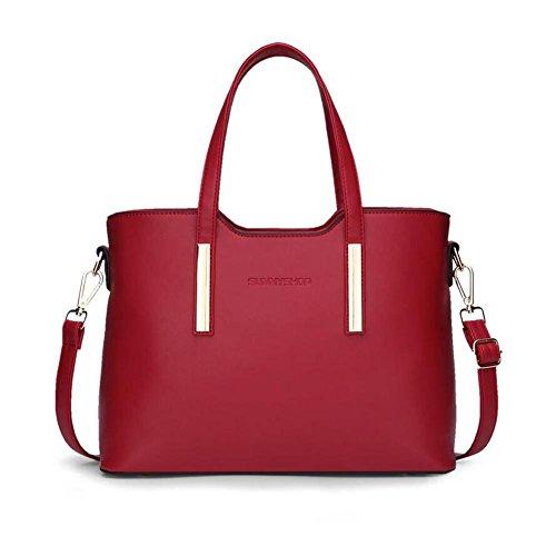 LDMB Damen-handtaschen Frauen PU-lederner einfacher wilder Schulter-Kurier-Handtaschen-Normallack-leichter Crossbody Beutel-große KapazitätsTaschen-Beutel-Handtaschen-Telefon-Paket 3 Stück-Satz Red