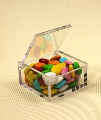 Irpot - 10 x scatola portaconfetti in plexiglass trasparente quadrata