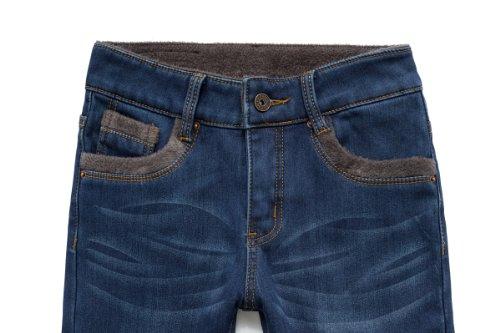 Camii Mia Damen Gefüttert Skinny Winter Slim Fit Flanell Jeanshosen Blau