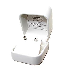 Lagerräumung. Herren 925 Silber Ohrstecker handgefertigt mit funkelnden weiß wie ein Diamant Kristall aus SWAROVSKI®.