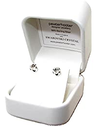 pewterhooter 925 Sterling Silver stud earrings expertly made with sparkling Diamond white crystal from SWAROVSKI®. Luxury white box.
