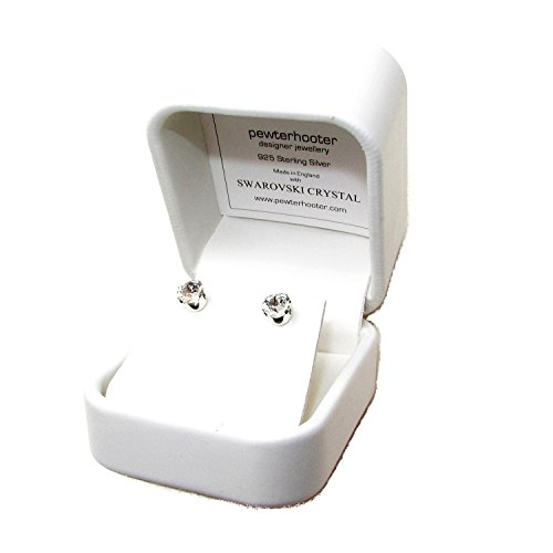 Sterling Silver stud earrings expertly made with sparkling Diamond White crystal from SWAROVSKI® for Women. Luxury box.