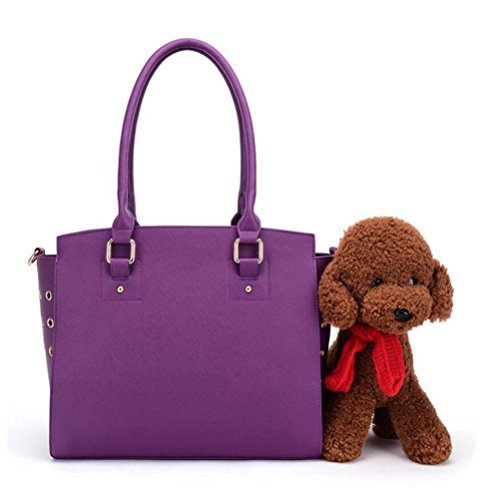 CHWTLB Frauen PU-Leder Pet Carrier Taschen Marke Frauen Messenger Bags Damen Schultertasche Leder Handtaschen, Purple - Marke Messenger