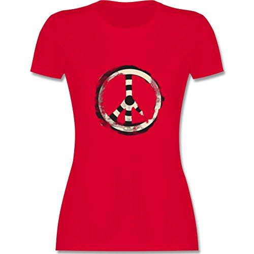 Statement Shirts Zielscheibe Frieden target peace tailliertes Premium TShirt  mit Rundhalsausschnitt für Damen Rot