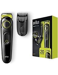 Braun BeardTrimmer BT3021 Beard Trimmer and Hair Clipper, Lifetime Sharp Blades, Black/Volt Green (UK 2 pin bathroom plug)