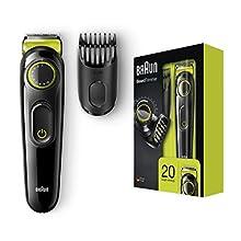 Braun BT3021 Beard Trimmer Lifetime Sharp Blades Black/Volt Green, 2 pin plug