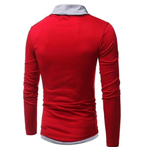 Felpa con Cappuccio Uomo, Beauty Top 2017 Autunno Inverno Hooded Sweatshirt Manica Lunga Hoodie Cappotto Giacca Pullover Felpe Top Outwear Rosso