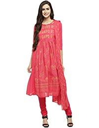 Haute Curry By Shoppers Stop Womens Round Neck Printed Churidar Suit_Pink_Medium_203706718_9557