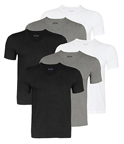 BOSS Hugo Herren T-Shirts Business Shirts V-Neck 50325389 6er Pack, Farbe:Mehrfarbig, Größe:XL, Artikel:-999 Mix