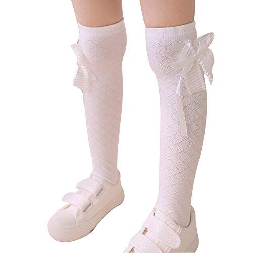 nanxsontm-girls-multi-colors-bow-tie-knee-high-socks-wzetwc0007-one-size-white