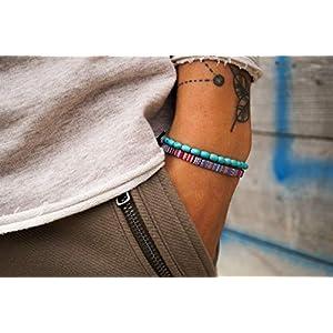Surfer-Armband Set Männer - Herren Armband Boho - Made by Nami Handmade Surfer Schmuck - Ethno Style Handmade (Multi, Perlen Türkis)