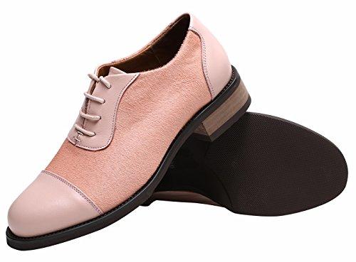 SimpleC Femme Derbies Oxfords en Cuir de Vachette Découpé, Chaussures Richelieu à Lacets Confortables, avec des Cheveux Souples et Doux à lempeigne Rose