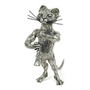 Stautette de chat Clarinette en étain - Anne Fuzeau Création