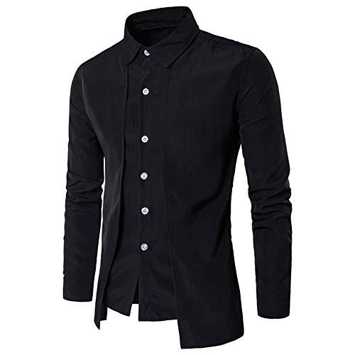 (laamei Herren Hemd Stehkragen Steampunk Gothic Vintage Slim Fit Einfarbig Langarmhemd)