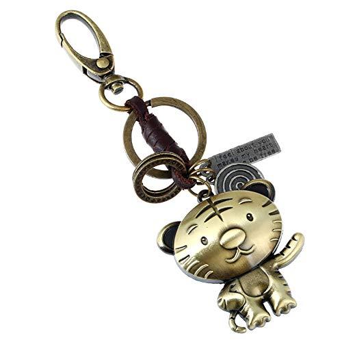 Hosaire 1x Keychain Mode Geflochtene Leder Schlüsselbund 12 Tierkreis Tier Schlüsselanhänger Anhänger Deko (Tiger) -