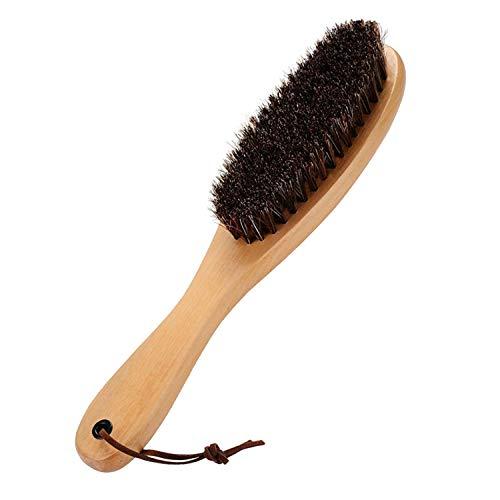 Cokaka Kleiderbürste, Fusselbürste mit echtem weichen Rosshaar und Holzgriff für Herrenmäntel, Schuhe, Jacken, Möbel, Automatten, und Tierhaare., 1-Pack (solid wood) -