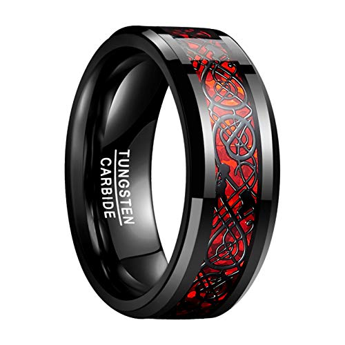 Natur Fashion - Damen Herren Partner Ring aus Wolfram 8mm Schwarz-Rot mit Keltischen Drachen für Hochzeit Verlobung Geburtstag Größe 66