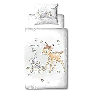 Bambi Disney Bettwäsche Set · Mädchenbettwäsche · Teenagerbettwäsche REH & Hase Klopfer · Dream Big - Kissenbezug 80x80 + Bettbezug 135x200 cm - 100% Baumwolle