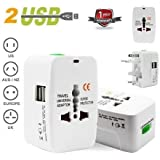 Brand Conquer Universal Travel Adapter with Built-in Dual USB Charger Ports 100-240V Surge/Spike Protected Electrical Plug (White)