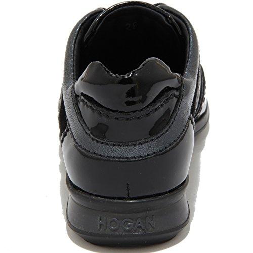 60304 sneaker HOGAN OLYMPIA vernice scarpa bimba shoes kids Nero