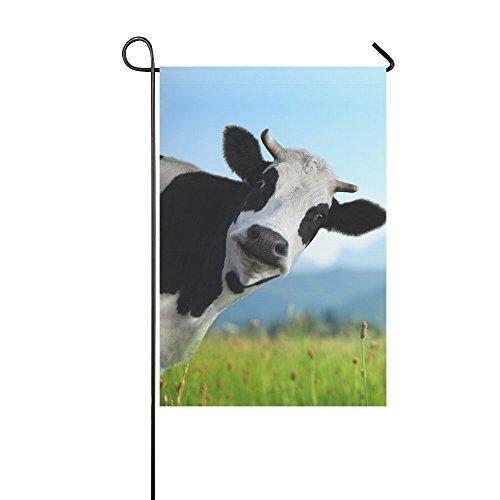 Funny Kuh, grünen Wiese Polyester Haus/Garten Flagge Banner Fahne Deko 30,5x 45,7cm, Niedliche milchrind für Hochzeitstag/für Home Outdoor Decor