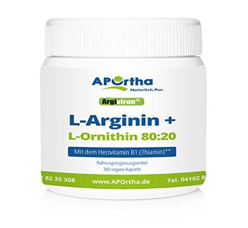 APOrtha® Argiviron® L-Arginin + L-Ornithin 80:20 + Herzvitamin B1 - 360 vegane Kapseln