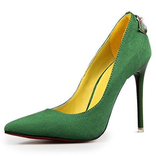HooH Femmes Femme De Bureau Métal D Stiletto Escarpins Vert