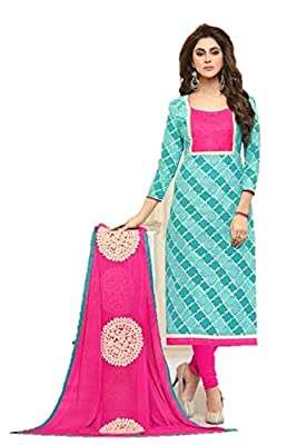 RIWAAYAT TRENDS Cambric cotton printed office wear unstitched Punjabi chudidaar salwar suit with neck patch and mirror work top and Nazneen Dupatta with embroidery and lace on all side- free size, Sky blue and Pink